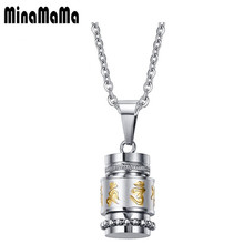 Unique design 12MM Religion Totem Six words mantra Necklace Can be rotated 316L Stainless Steel Pendant Necklace Jewlery(China)