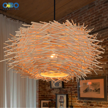 Vintage Pendant Lamp Bird's Nest Wood Lampshade Indoor Lighting Coffee House/Bar Pendant Lights Cord Lenght 1.2M  E27 110-240V