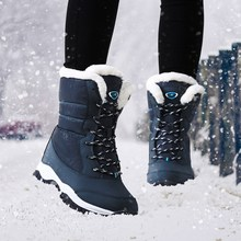 Women boots 2017 winter shoes non-slip waterproof ankle snow boots women platform winter shoes with thick fur size 35 - 41(China)