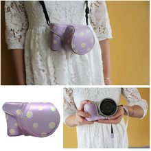 Purple Daisy Floral PU Leather Men Women Waterproof Camera Bag Insert Case Pouch Fit Sony NEX-5R 5T 3N A6000 A5000 A5100 16-50