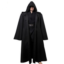 2017 New Halloween Star Wars Anakin Skywalker Cosplay Costume Outfit Robe Tunic Belt Pants Black Version Full Set(China)