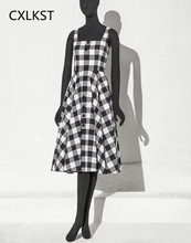 CXLKST Women's Summer Elegant 50s 60s Vintage Hepburn Style Halter Classic Black White Plaid Casual Party Cocktail Swing Dress