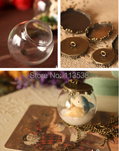 NEW 20sets/lot 25*15mm glass globe orb with antique bronze crown tray findings set glass bubble DIY vial pendant(China)