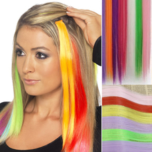 "20"" Long Straight Hair 1 Clip In Hair Weaving Colorful Hair Extension Cosplay Party Highlights Hair Pieces 16 Color Available"