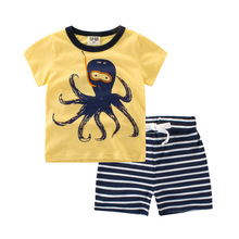 100% Organic Cotton Kids Clothes Boys Fashion 2017 Summer Toddler Boys Clothing Sets For Children Striped Animal Pattern