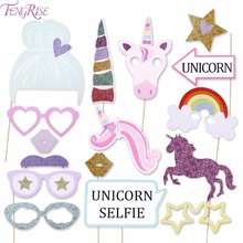 FENGRISE Unicorn Party Decorations Glitter Unicorn Photo Booth Props Happy Birthday Boy Girl Baby Shower Wedding Decorations(China)