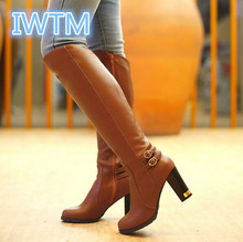 2015 Plus Size 43 Woman Boots Winter Warm Fashion High-Heeled High Quality Soft PU Zipper Knee-High Sexy Ladies Boots IWTM-9372