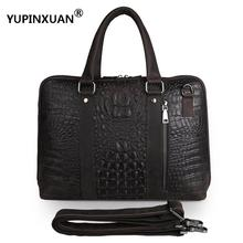 "YUPINXUAN Vintage 15"" Laptop Cowhide Handbags Men Genuine Leather Alligator Office Bags Crocodile Patterns Messenger Bag Russian(China)"