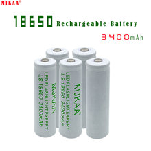 5pcs High capacity 18650 Rechargeable Battery(not AA/AAA Battery) 3.7v 3400mAh Li-ion Tip Head Bateria for Flashlight Headlamp(China)