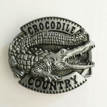 Retail New Style Cool 3D Crocodile men's belt buckles fit 4cm Wide Belt With pewter Fashion Mens Jeans accessories best gift(China)