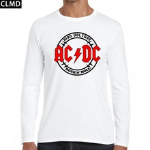 New 2017 autumn AC/DC band rock  long Sleeve Whiter T Shirt Mens acdc Graphic Men O Neck T-shirts Print Casual Tshirt Plus Size