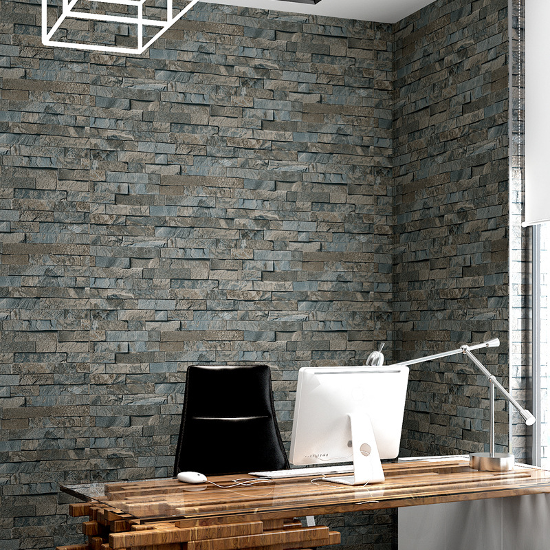 beibehang 3D flooring Stone Brick Wall covering PVC Roll Wall Paper Brick TV Background Wallpaper For Living Room contact-paper<br>