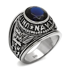 United Marine Corps military men ring high polished stainless steel IP color Montana stone material Stainless Ring steel men(Hong Kong)