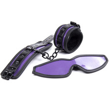 Buy Purple Leather Bondage Kit(Handcuffs+Blindfold) Sex Toys Couples Adult Games Restraints Slave BDSM Set Hand Cuffs Eye Mask