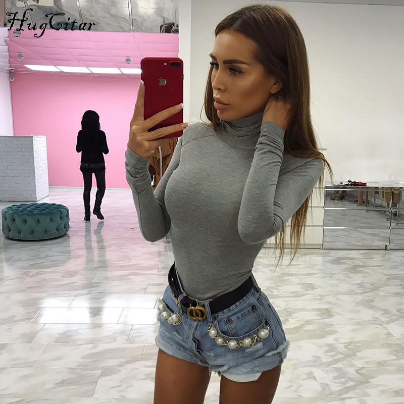 Cotton Long Sleeve, High Neck Bodysuit, Women's Solid Sexy Bodysuit 10