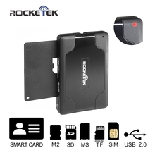 Rocketek 3 USB 2.0 Smart Card Reader DOD Military CAC Common Access,Bank card, ID, SDHC MMC, Micro SD/TF M2 MS,sim card adapter