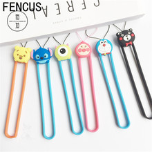 FENCUS Fashion Cartoon Lovely Silicone wrist hand cell phone mobile chain straps keychain Charm Cords Hang Rope Short Lanyard