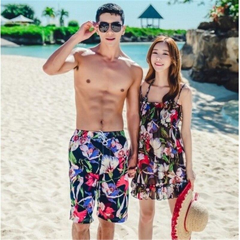 2017 Sexy Couple Mach Three PCS Bikini Swimsuit Women Bathing Monokini Push Up Padded Bikini Mens Beach Short Bathing Trunks<br>