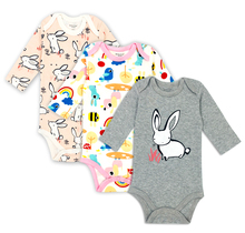 3 pieces/lot 100% Cotton Baby Bodysuit Newborn Cotton Body Baby Long Sleeve Underwear Next Infant Boys Girls Clothes Baby's Sets(China)