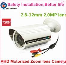 Free Shipping 4X Zoom Auto Iris Varifocal Motorized 2.8-12mm 2.0MP Lens IR 40m 1.0MP 720P Outdoor Water-proof IR Bullet Camera(China)