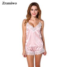 Satin Pajamas Set Lace Trim Pijama Short Pant Sexy Cami Bridal Sleepwear Sets For Women(China)
