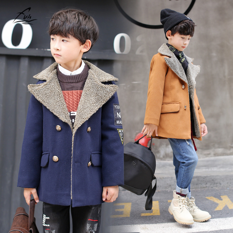FYH New Kids Clothes Boys Wool Coat Autumn Winter Woolen Jackets Children Thick Warm Trench Turn Down Collar School Kids Outwear<br>