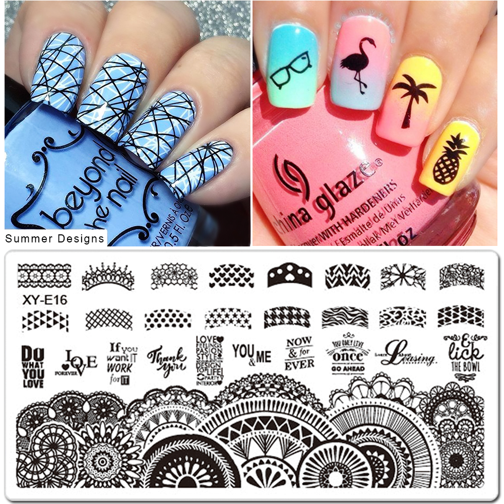 1pcs Nail Art Stamping Plates Set Cartoon Lace Flowers Christmas Design Polish Stamp New Arrival Templates Manicure SAXYE01-16(China)