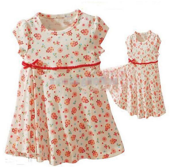 2016 New Cute Baby Dress Baby Girl Dress Summer soft Short-sleeved Printed Baby Clothing Flower Dress For Girls Clothing Dress<br><br>Aliexpress