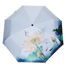 ChineseClassical High Quality Automatic Umbrella Lady Beautiful Lotus Painting Creative Trendy Outdoor Folding Sunshade Umbrella(China)
