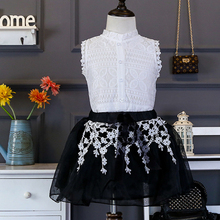 2017 New Baby Girls Dress (Blouse+S kirt) Children Lace Princess Dresses Cute Lolita Style Kids Summer Dress 2 3 4 5 6 7 8 Year