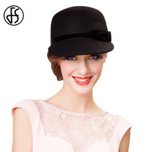 FS 100% Australia Wool Felt Fedora Hat Black Gray Womens Winter Wide Brim Elegant Ladies Kentucky Derby Party Church Hats(China)