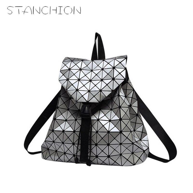 STANCHION Women Backpack Geometric Patchwork Diamond Lattice Backpack Famous Brand Drawstring Bag Mochila sac a dos<br>