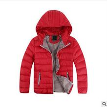 Children fashion outwear winter warm hooded jackets girls cotton padded clothes boy down jacket kids winter solid color coat(China)