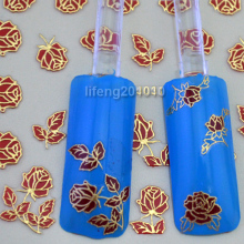Wholesale 2Pcs/lot stamping Gold -gilded Red Rose Flowers 3D Nail Art Stickers Decal Cell Phone Decoration RTJ031 Retail Package