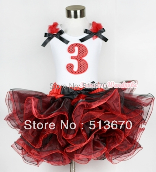 Red Black 8 Layered Pettiskirt Red Sparkle Number Ruffle Red Bow Tank Top MAMG577<br>
