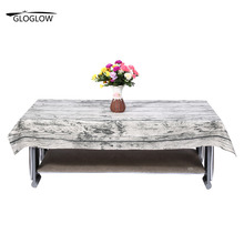 Retro Tablecloths Cotton & Linen Table Cloth Tree Printed Strip Rectangular Table Cover Edge Tablecloth Gray White Color