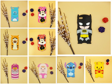 3D Cartoon Batman Stitch Minnie Winnie Pooh Bear Sully Tiger Alice Cat Pig Case Silicon Cover For iPhone SE 5 5S 6 6S 7 8 Plus(China)