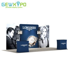 20ft Exhibition Booth Portable Tension Fabric Banner Advertising Display Wall With Two Hard Case Podium (No TV Accessory)(China)
