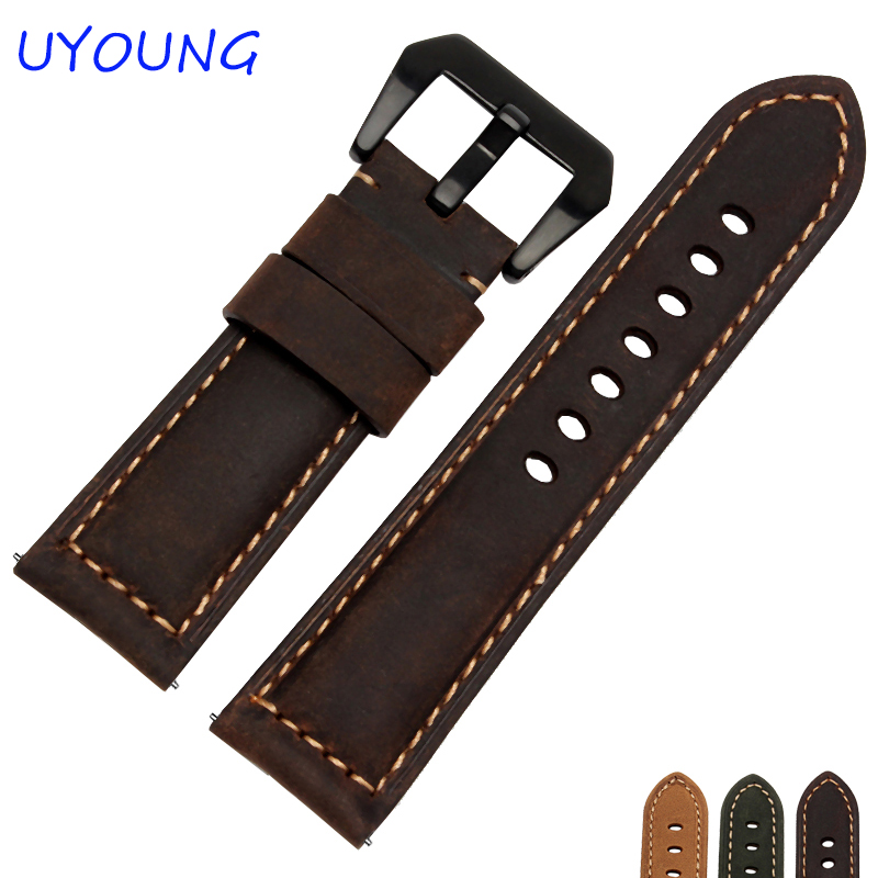Quality Genuine Leather Watch bands 20mm 22mm 24mm 26mm For Mens Scrub Strap For Panerai Strap <br><br>Aliexpress