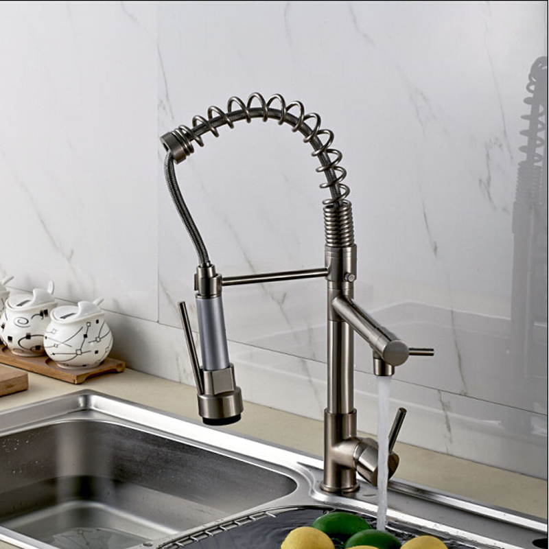 Promotion-Good-Quality-Kitchen-Faucet-Mixer-Taps-Brushed-Nickel-Dual-Sprayer-Spring-Kitchen-Sink-Faucet (3)