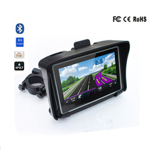 Motorcycle GPS Navigator Waterproof IPX7 Moto Bicycle GPS 4.3 Inch Win CE 6.0 Car GPS Navigation Map-FM Transmitter Bluetooth