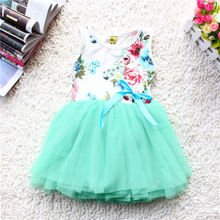 Infantil Toddler Baby Girls Kids Cute Princess Floral Lovely Tulle Silk Ribbon Tutu Fancy Dress Bubble