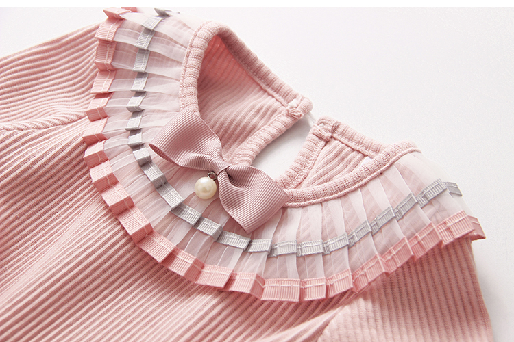 2018 Spring Autumn 100% Cotton White Grey Pink Solid Color Long Sleeve Pleated Turn-Down Collar Neck T Shirt For Girls 10 Years (15)