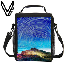 VEEVANV Brand 2017 Starry Sky Image 3D PU Thermal Insulated Lunch Bags Cooler Picnic Food Bags for Women Storage Lunch Hand Bags