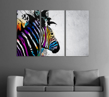 Hot sell Wall Art Zebra Painting On Canvas Abstract Print Pictures living room decoration pictures with framed