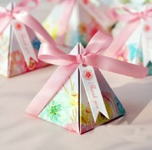 100 x Hot Sale Pink Floral Flower Printed Gift Box Triangular Pyramid Wedding Favors Candy Boxes Party Favors Box Giveaways Box