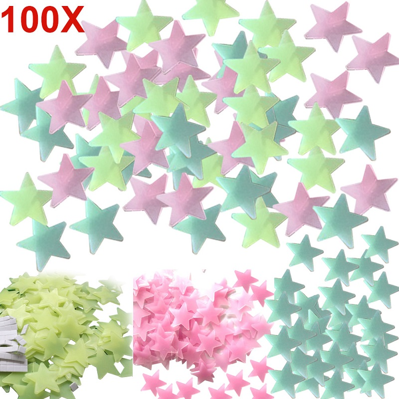 100pcs Home Decor Wall Decals Glow Color Stars Luminous Fluorescent Wall Stickers for Kids Nursery Rooms TB Sale(China (Mainland))