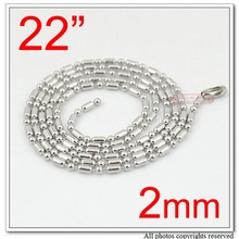 "GOKADIMA 22"", 2mm, Jewelry Accessories, Stainless Steel Ball Bar Chain Necklace Jewellery, wholesale free shipping WNC036(China)"