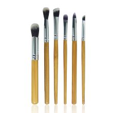 Pro 6 Pcs Bamboo Handle Eye Brushes Makeup Flat Brushes Cosmetics Professional Makeup Brush Set Hairbrush eco-envrionmently