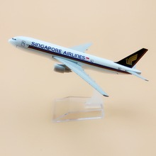 16cm Alloy Metal Air Singapore Airlines Boeing 777 B777 Airways Plane Model Airplane Model w Stand Aircraft(China)